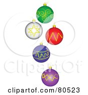 Digital Collage Of Five Christmas Balls On White