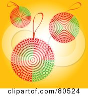 Abstract Red And Green Christmas Balls On Yellow