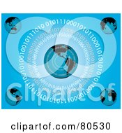 Royalty Free RF Clipart Illustration Of Rings Of Binary Code Around Globes On Blue