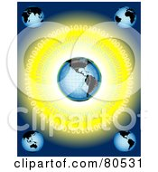Royalty Free RF Clipart Illustration Of A Blue Backgrounds With Five Globes And Binary Code On Yellow