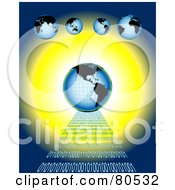 Royalty Free RF Clipart Illustration Of A Blue Globe On A Road Of Binary Code Over Blue And Yellow Under Smaller Globes