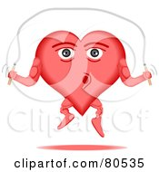 Royalty Free RF Clipart Illustration Of A Healthy Heart Face Jumping Rope