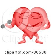 Royalty Free RF Clipart Illustration Of A Healthy Heart Face Lifting Weights by tdoes