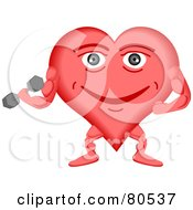 Royalty Free RF Clipart Illustration Of A Healthy Heart Face Weightlifting by tdoes