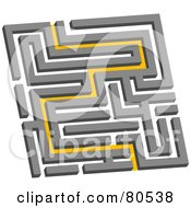 Royalty Free RF Clipart Illustration Of A Yellow Path Leading Through A Maze Version 1