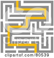 Royalty Free RF Clipart Illustration Of A Yellow Path Leading Through A Maze Version 2 #80539 by tdoes