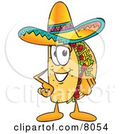 Clipart Picture Of A Taco Mascot Cartoon Character Pointing At The Viewer by Toons4Biz