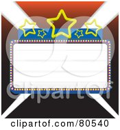Royalty Free RF Clipart Illustration Of A Blank Marquee Sign With Blue Borders And Stars Over Lights Version 2