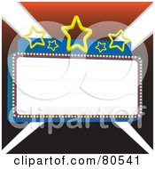 Royalty Free RF Clipart Illustration Of A Blank Marquee Sign With Blue Borders And Stars Over Lights Version 1