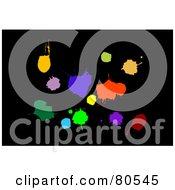 Colorful Vibrant Splatters On Black