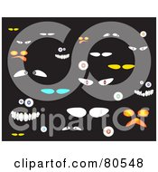 Royalty Free RF Clipart Illustration Of A Digital Collage Of Goofy And Spooky Eyes On Black
