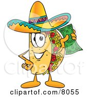 Clipart Picture Of A Taco Mascot Cartoon Character Holding A Dollar Bill by Toons4Biz