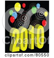 Royalty Free RF Clipart Illustration Of A Yellow 2010 Near Year Background With Fireworks And Balloons On Black by tdoes