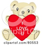 Royalty Free RF Clipart Illustration Of A Sweet Teddy Bear Stuffed Animal With An I Love U Heart by tdoes