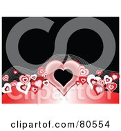 Royalty Free RF Clipart Illustration Of A Wave Of Hearts And Lines With A Red Arch On A Black Background With Text Space by tdoes