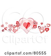 Royalty Free RF Clipart Illustration Of A Pink And Red Heart Wave Border On White by tdoes