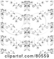 Royalty Free RF Clipart Illustration Of A Seamless Background Of Gray Floral Waves by tdoes