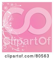 Pink Background With A White Left Floral Border