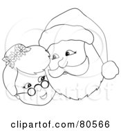 Royalty Free RF Clipart Illustration Of A Black And White Outline Of Mr And Mrs Claus Cheek To Cheek by Pams Clipart