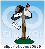 Royalty Free RF Clipart Illustration Of Envelopes Falling Out Of An Open Mailbox Version 2