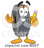 Clipart Picture Of A Rubber Tire Mascot Cartoon Character Holding A Pencil