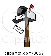 Royalty Free RF Clipart Illustration Of Envelopes Falling Out Of An Open Mailbox Version 1