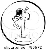 Royalty Free RF Clipart Illustration Of Envelopes Falling Out Of An Open Mailbox Version 4