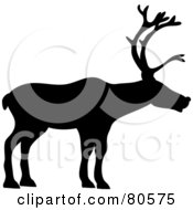 Royalty Free RF Clipart Illustration Of A Black Silhouette Of A Profiled Reindeer by Pams Clipart