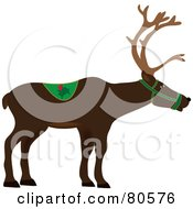 Royalty Free RF Clipart Illustration Of A Brown Profiled Christmas Reindeer by Pams Clipart