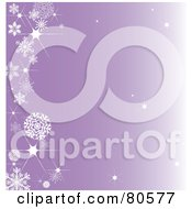 Royalty Free RF Clipart Illustration Of A Sparkly Gradient Purple Background With A Left Snowflake Border And Twinkles Throughout by Pams Clipart