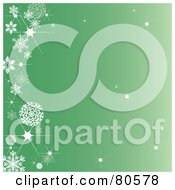 Royalty Free RF Clipart Illustration Of A Sparkly Green Background With A Left Snowflake Border by Pams Clipart