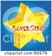 Royalty Free RF Clipart Illustration Of A Gold Superstar With Swirls On Blue
