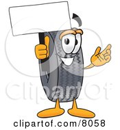Clipart Picture Of A Rubber Tire Mascot Cartoon Character Holding A Blank Sign