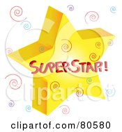 Royalty Free RF Clipart Illustration Of A Golden Superstar With Colorful Swirls by Pams Clipart