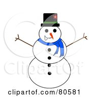 Royalty Free RF Clipart Illustration Of A Jolly Christmas Snowman With Twig Arms by Pams Clipart