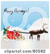 Royalty Free RF Clipart Illustration Of Happy Holidays Text Over A Single Reindeer Pulling Santas Sleigh On A Snowy Day by Pams Clipart