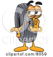 Clipart Picture Of A Rubber Tire Mascot Cartoon Character Whispering And Gossiping