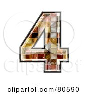 Royalty Free RF Clipart Illustration Of A Grunge Texture Symbol Number 4