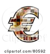 Royalty Free RF Clipart Illustration Of A Ceramic Tile Symbol Euro by chrisroll