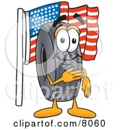 Rubber Tire Mascot Cartoon Character Pledging Allegiance To An American Flag