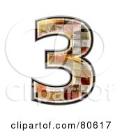 Royalty Free RF Clipart Illustration Of A Grunge Texture Symbol Number 3