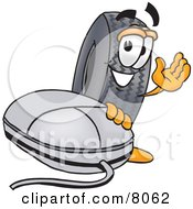 Clipart Picture Of A Rubber Tire Mascot Cartoon Character With A Computer Mouse