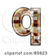 Ceramic Tile Symbol Lowercase Letter Q by chrisroll