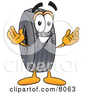 Rubber Tire Mascot Cartoon Character With Welcoming Open Arms