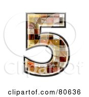 Royalty Free RF Clipart Illustration Of A Grunge Texture Symbol Number 5