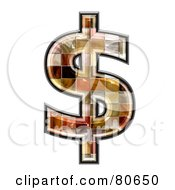 Royalty Free RF Clipart Illustration Of A Ceramic Tile Symbol Dollar by chrisroll