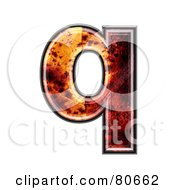 Autumn Leaf Texture Symbol Lowercase Letter Q by chrisroll
