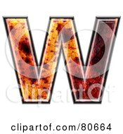 Autumn Leaf Texture Symbol Capital Letter W
