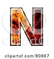 Royalty Free RF Clipart Illustration Of An Autumn Leaf Texture Symbol Capital Letter N by chrisroll