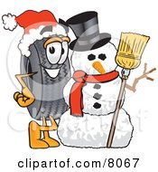 Clipart Picture Of A Rubber Tire Mascot Cartoon Character With A Snowman On Christmas by Toons4Biz